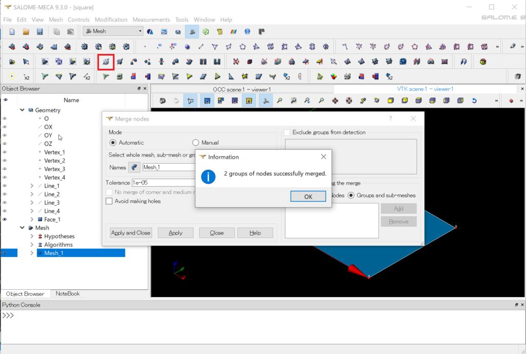 SALOME-MECA 9.3.0 - 重複節点 マージ