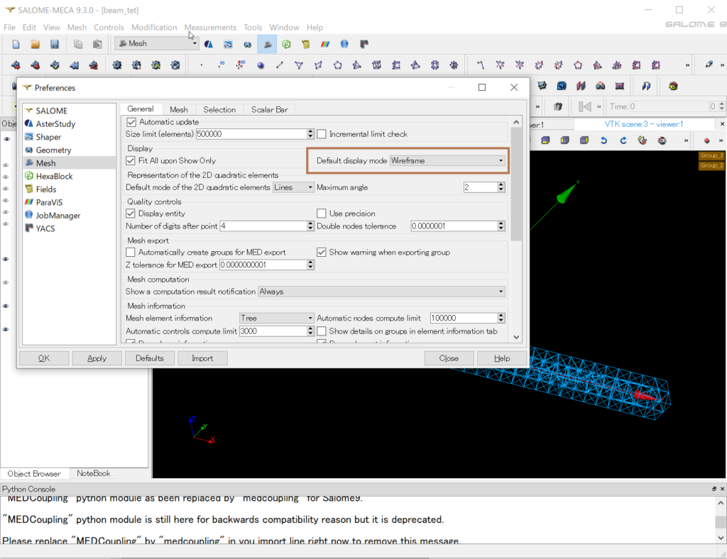 SALOME-MECA 9.3.0 - ワイヤー表示